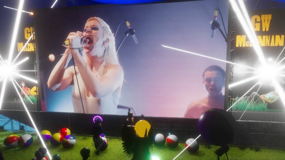 Amyl and the sniffers at Splendour XR on a virtual stage