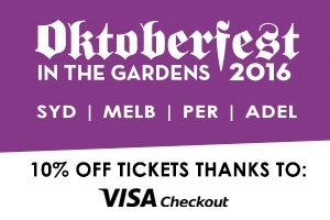 Grab 10% off your Oktoberfest in the Gardens tickets thanks to Visa Checkout!
