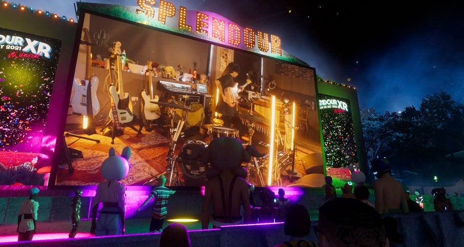 Tash Sultana performing on a virtual stage at Splendour XR