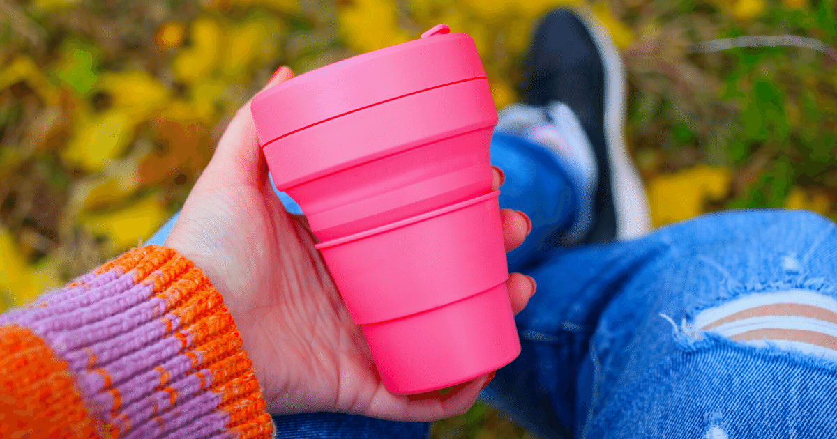 Reusable coffee cup to keep your coffee nice and warm at the festival