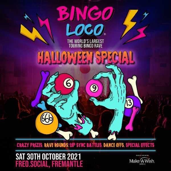 Digital drawing of blue mummy hands with bone exposed holding pool balls. Text overlay reads: Bingo Loco Halloween Special Sat 30th Oct 2021 Freo.Social, Perth WA