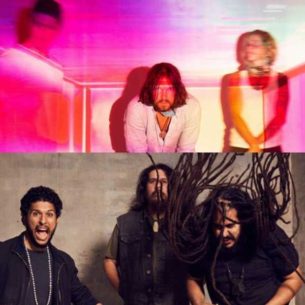 two photo collage of two bands posing for the camera