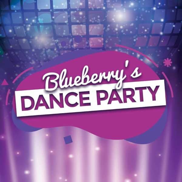 purple and blue disco inspired background with cursive text reading: Blueberry's Dance Party