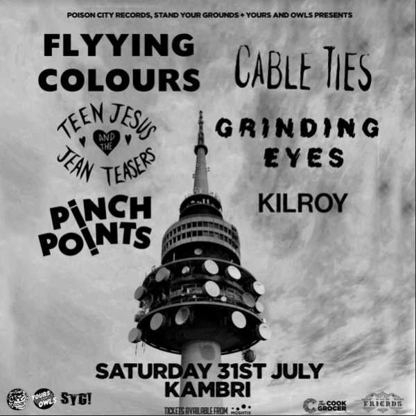 black and white poster of a cell tower cut out with text overlay reading:Flyying Colours // Cable Ties // Teen Jesus & the Jean Teasers + More