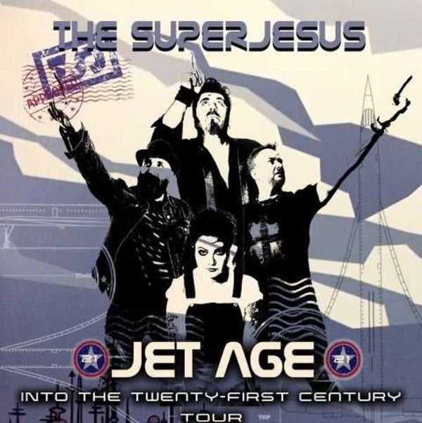 Digital drawing of four musicians pointing off in the distance. Text overlay reads: The Superjesus Jet Age