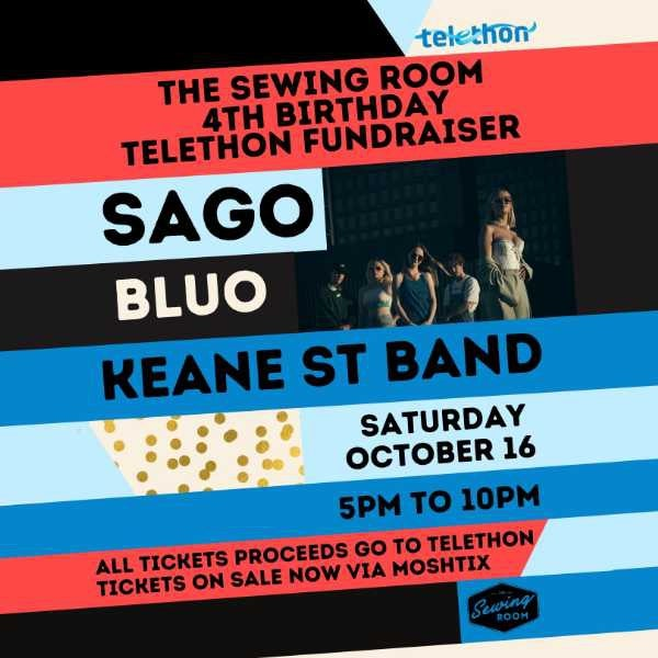 black, red, light blue and dark blue strips with black block text overlay reading: The Sewing Room 4th Birthday Telethon Fundraiser. Sago, Keane St Band. Saturday october 16. 5pm to 10pm